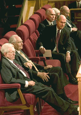 With two recent deaths, members of The Quorum of the Twelve Apostles of The LDS Church now have two empty chairs in their midst. Speculation is rampant as to who will fill the key positions.