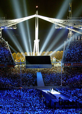 The Olympic flame is extinguished during closing ceremonies of the Olympic Summer Games in Athens. The next Summer Olympics will be held in Bejing in 2008.