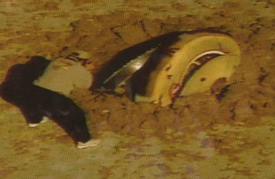 Stills captured from a live feed from one of the Genesis helicopters shows the wreckage of the Genesis spacecraft after it tumbled to the ground at 193 mph and recovery crews photographing the scene.