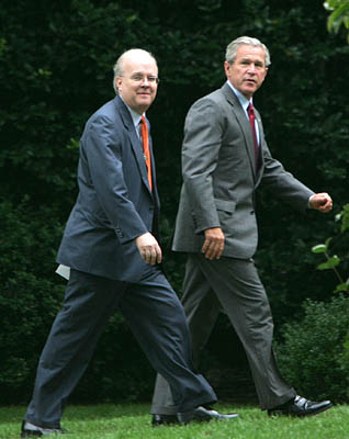 <br><br>Senior adviser Karl Rove joins President Bush at the White House on Wednesday. Amid the heated debates over the presidential candidates' military history, Rove's draft record also has become an issue.<br>