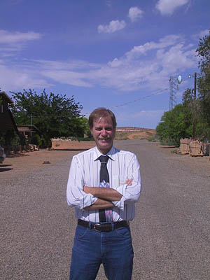 Big Water Mayor Willy Marshall standing on one of the streets he had paved paved since being elected mayor in 2002. The paving of the streets and reducing taxes are two accomplishments the openly gay mayor is most proud of.