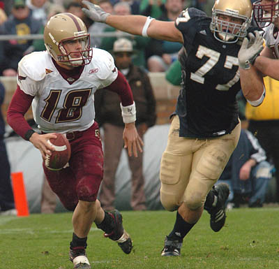 Boston College's Paul Peterson is drawing comparisons to former BC quarterback Doug Flutie, namely after leading the Eagles over Notre Dame last week.