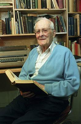Hugh Nibley in his Provo home.