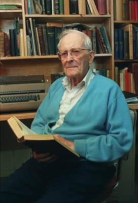Hugh Nibley, an outspoken LDS historian and defender of the faith, shown in this September 2000 photo in a Provo library, died Thursday.