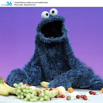 Cookie Monster replaces his trademark treat with a healthful snack.