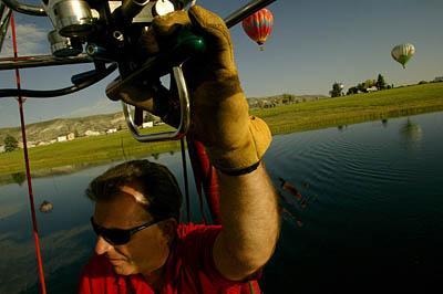 State Sen. Curt Bramble pilots his hot air balloon.