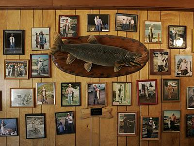 Trophy fish and photo souvenirs line the walls at the Bowery Haven Resort, Fish Lake. One of the resort's draws is the