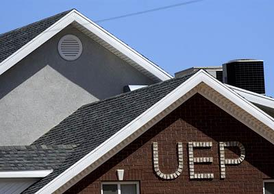 On a residential home in Hildale, UEP, the initials of the United Effort Plan, a trust controlling most of the property in Hildale, Utah, and Colorado City, Arizona, in the polygamous towns of Hildale, Utah and Colorado City, Arizona.