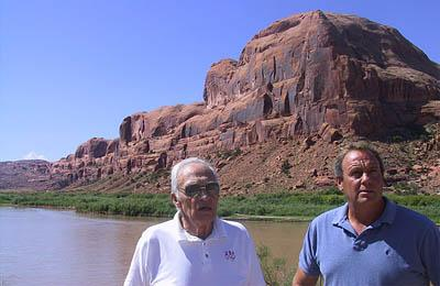 Based on geology he taught himself, Jimmy Walker prospected for uranium in this redrock along the Colorado River outside of Moab. James Tibbetts, Walker's son-in-law, has staked more than two dozen uranium claims in hopes of being part of a new uranium boom that many are now predicting for eastern Utah.