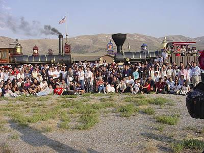 Members of the Organization of Chinese Americans gather at Golden Spike National Historic Site in 2001. Chinese workers were excluded from a photo taken at the site in 1869.