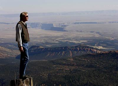 Rick Moore of the Grand Canyon Trust at the East Rim View Point overlooking the Saddle Mountain Wilderness Area.