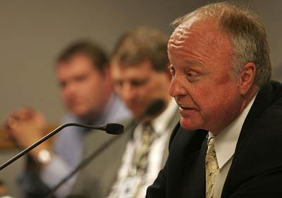 Sen. Chris Buttars, R-West Jordan, on Friday tells the Board of Education he plans to introduce legislation requiring that intelligent design be a school topic or be placed on next year's ballot as a referendum.
