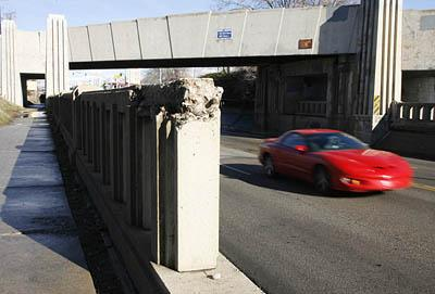 A rail of the State Street TRAX bridge in Midvale shows the signs of deteriation.