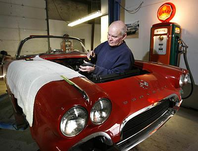 Willie Smith bought this Corvette in Texas and plans to double its worth. When not restoring cars, Smith is rebuilding vintage gas pumps.