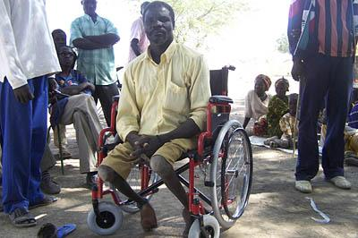 A Chadean man received his new wheelchair from Toupta Boguena's nonprofit organization, which was aided by donations from Utah.