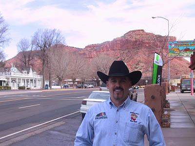Ted Hallisey, executive director of the Kane County Office of Tourism and Film Commission on main street in Kanab on 1/26/06. Hallisey hopes the backlash to the city�s natural family ordinance does not keep tourists away from the southern Utah town.
