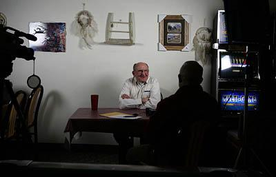 Bruce Nielson, of Richfield, left, talks with historian Dave Tilford, of Ely, Nev., at the Border Inn near the Utah-Nevada border on Friday. Tilford is compiling an oral history of sheepherding stories.