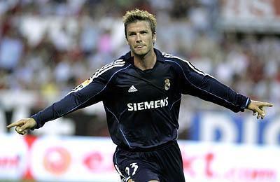 Real Madrid's David Beckham celebrates a goal against Sevilla during a Spanish league soccer match in Seville, Spain, on May 16.