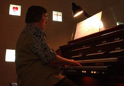 Connie Birdsey plays the organ for Sunday services. Paul and Connie Birdsey are a Presbyterian couple living in the most Mormon county in Utah. The two attend Bear Lake Community Church, where Paul is a part-time lay preacher and Connie is the organist for the small congregation.