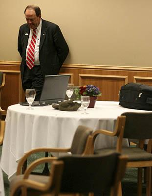 John Jacob is behind at the polls early at his campaign party at Thanksgiving Point in Lehi.
