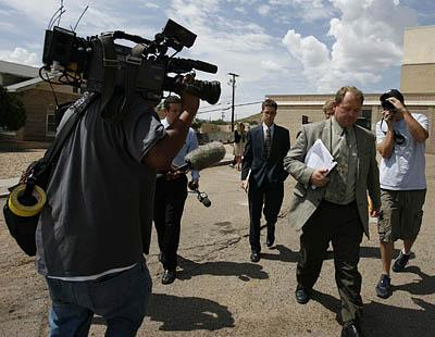 Kelly Fischer, of Colorado City, Ariz, leaves court in Kingman after his conviction.