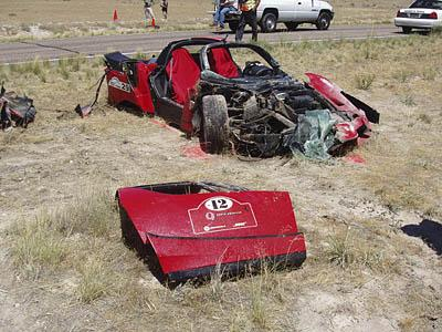 Crashed Ferrari on State Road 257, near Delta. The Utah Highway Patrol closed a 15 mile section of the highway as part of the four-day Utah Fast Pass charity event so those participating in the event could