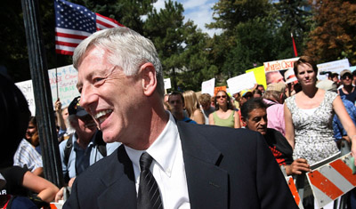 Salt Lake City Mayor Rocky Anderson, before delivering a speech at a rally Wednesday opposing the war in Iraq and the policies of the Bush administration.