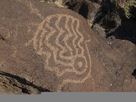 A symbol on one of the dozens of rock art panels that volunteers documented on Saturday. Researchers are gathering data on the rock art in case future vandalism alters it or wipes it out.