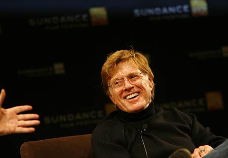 Robert Redford speaks during a press conference at the Egyptian Theatre.
