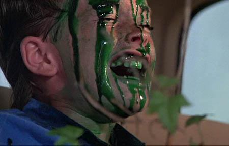 Michael Stephenson gets covered with green syrup during a dream sequence in