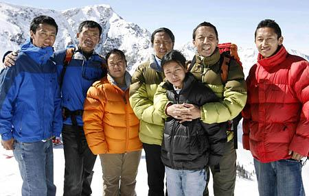 From left, Apa Sherpa's son, Tenzing, 21; Lhakpa Gelu Sherpa and his wife, Pullie; Apa Sherpa's wife, Yangjin; daughter, Gawa, 11; Apa; and son, Pemba, 15. Apa and Lhakpa both hold records climbing Mount Everest.Apa Sherpa presents Brian Day O'Connor with a string blessed by the Dalai Lama at a ceremony at Apa's lodge in Thame, Nepal, in 2003 before they set off on an expedition to climb Mount Everest.