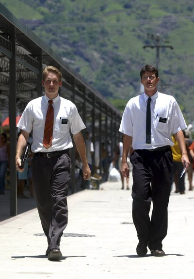 Elder Collin Timothy and Elder Rodrigo Melo walk the streets of Bangu, Rio De Janeiro, Brazil.