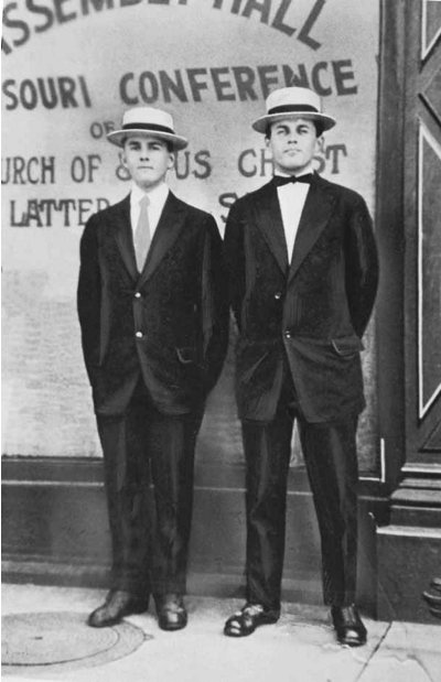 Elder Spencer W. Kimball, left, and his missionary companion, Elder L. M. Hawkes in June 1915, in Missouri.