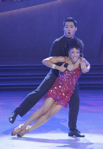 Dominic Sandoval (top) and Sabra Johnson perform the Jive on the Fox series