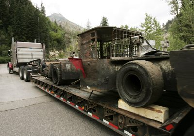 Mine equipment arrives at the Crandall Canyon Mine, northwest of Huntington, Utah, Monday to help in the rescue of six trapped coal miners.