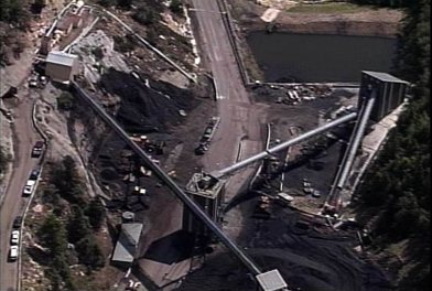 An aerial shot, taken from television station KUTV's helicopter, of the Crandall Canyon mine in Huntington Canyon, where six miners were trapped after parts of the mine caved in.