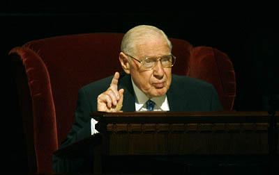 James E. Faust, Second Counselor in the First Presidency of the LDS Church speaks in General Conference, September 30, 2006.
