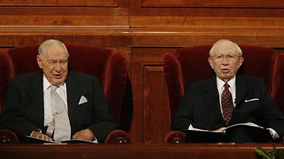 Second counselor James E. Faust and President Gordon B. Hinckley sing hymns during LDS General Conference in October, 2006.