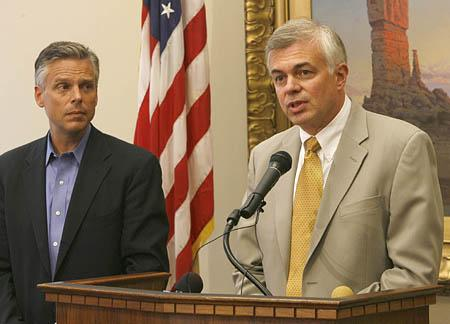 Governor Huntsman listens as Scot Matheson talks about the new Minning Safety Comission Thursday afternoon in the Governors Office.
