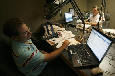 With an increasingly competitive Salt Lake sports-radio market we stop in to see KFAN morning hosts David James, at right,  and Patrick Kinahan (