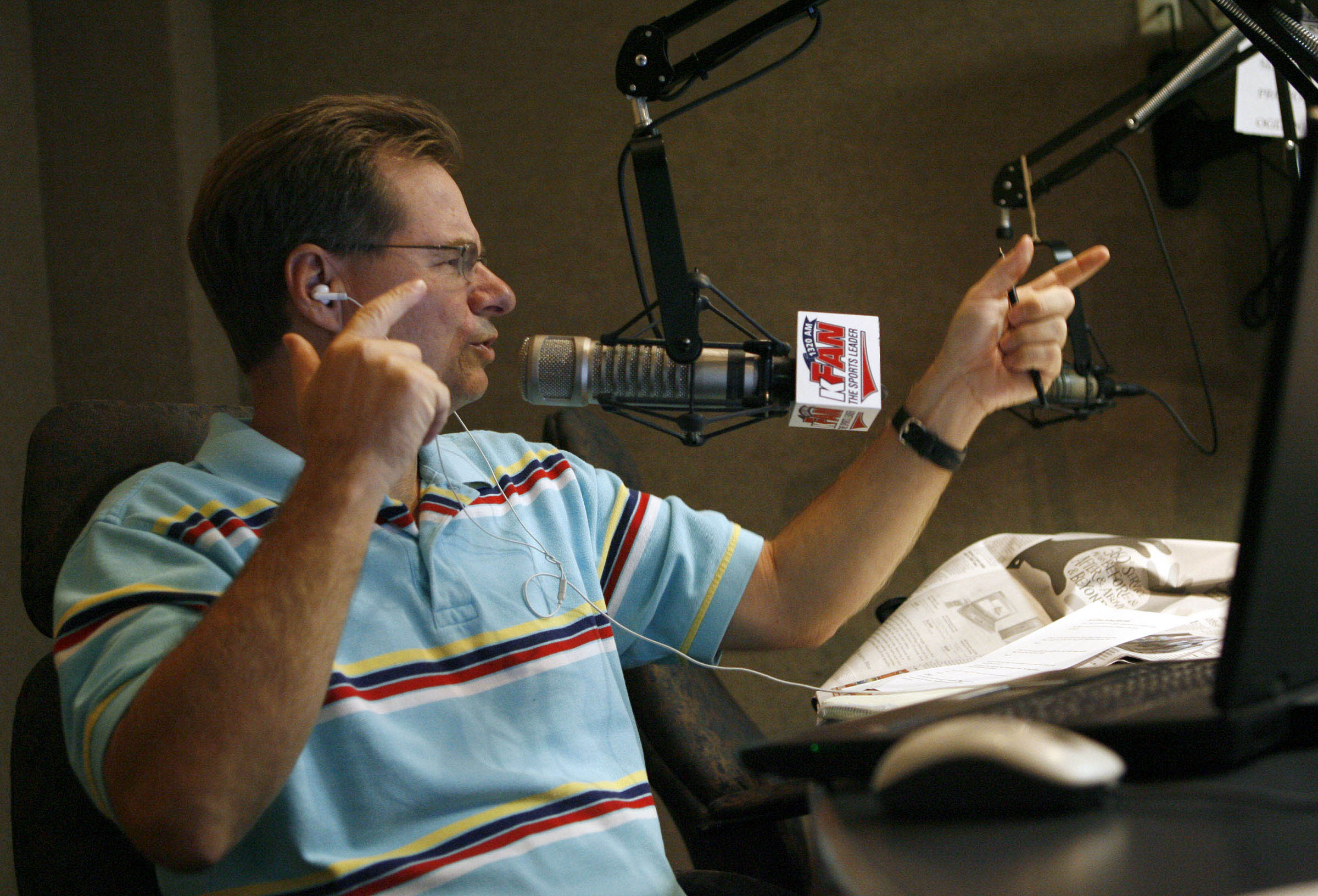 With an increasingly competitive Salt Lake sports-radio market we stop in to see KFAN morning hosts David James and Patrick Kinahan, pictured, as they interact with one another in the (