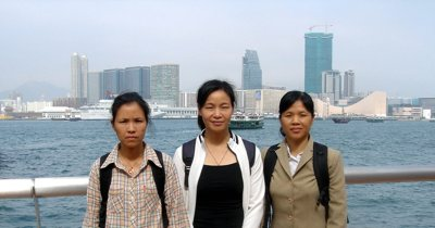 Chen Honghuan, left, Liu Hongmei, center, and Xie Xinrong made nickel-cadmium batteries by hand for export to at least 20 different companies in the U.S., including Rayovac and Eveready. Each is suffering from cadmium poisoning, with some renal damage and severe bone pain. Here, they are photographed during a visit to Hong Kong, where they asked the owner of the battery factories, GP International, to reimburse them fairly for their expenses associated with the poisoning. (GP had given them a little money but the women said it was not enough.)