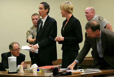 Warren Jeffs, third from left, asks to speak with 5th District Judge James L. Shumate at the end of a March 27 hearing, during which he appeared emaciated and detached.