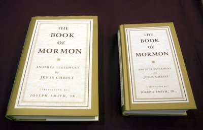 Large and small Doubleday editions of the Book of Mormon.