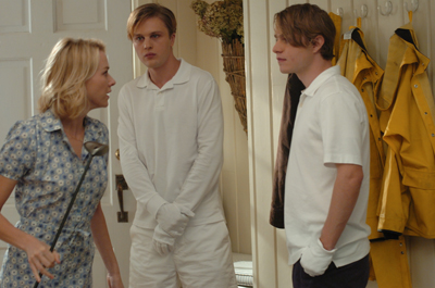 Naomi Watts (left) plays a woman whose family is terrorized by two psychotic preppies (Michael Pitt and Brady Corbet) in Michael Haneke s English-language remake of his 1997 thriller  Funny Games,  one of the Park City at Midnight selections at the 2008 Sundance Film Festival.