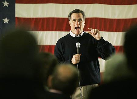 Republican presidential hopeful Mitt Romney hits the campaign trail in Keene, N.H., on Sunday.