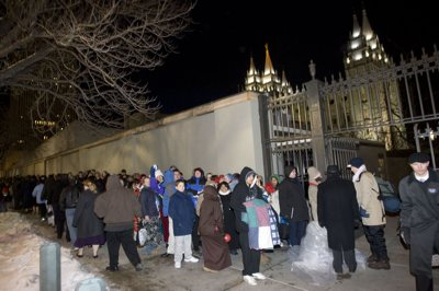 Hours before the funeral was to begin, Mormon faithful were lining up for first come, first served tickets at the LDS Conference Center in downtown Salt Lake City.