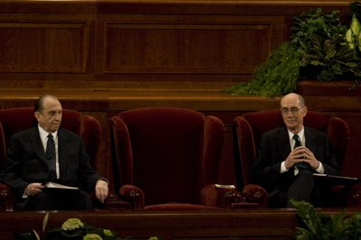 With Hinckley's empty seat in the middle, President Thomas S. Monson, left, and President Henry B. Eyring watch during the funeral services for LDS President Gordon B. Hinckley Saturday at the Salt Lake City LDS Conference Center.