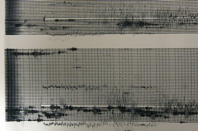 The seismic activity from Wells, Nev., on a Helicorder print at the University of Utah's seismic station.