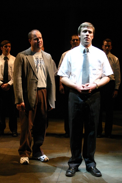 Actor Jim VanValen, as Ron, confronts Aaron, a younger version of himself in the play
